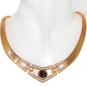 Authentic Christian Dior Necklace Amethyst Crystal